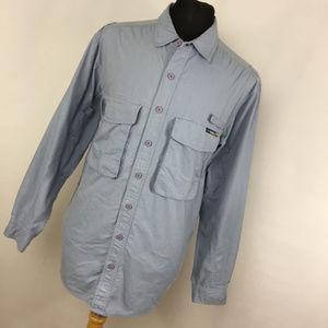 Exofficio L Large Shirt Light BLue Button Down